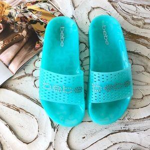 Bebe Laurier Tiffany Blue Jelly Slide Sandals